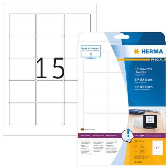 HERMA 5087 ZIP-Disk-Etiketten A4 59x50 mm weiß Papier matt 375 Stück
