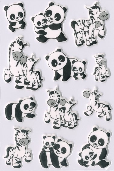 HERMA 6021 10x Sticker MAGIC Panda- und Zebrafamilien Foam