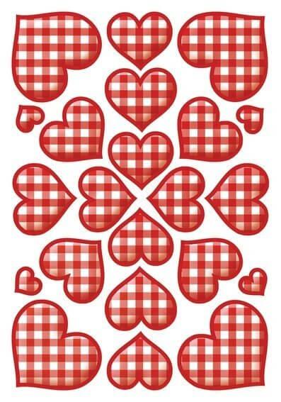 HERMA 3361 10x Sticker DECOR Karierte Herzen