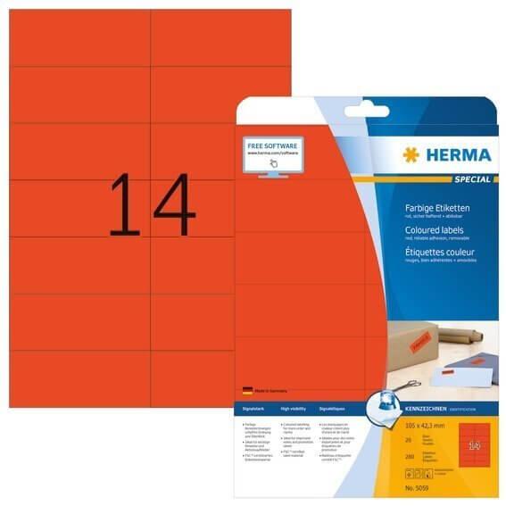 HERMA 5059 Farbige Etiketten A4 105x423 mm rot ablösbar Papier matt 280 Stück