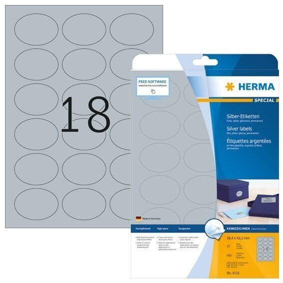 HERMA 4116 Etiketten A4 58,4x42,3 mm silber oval Folie glänzend 450 Stück