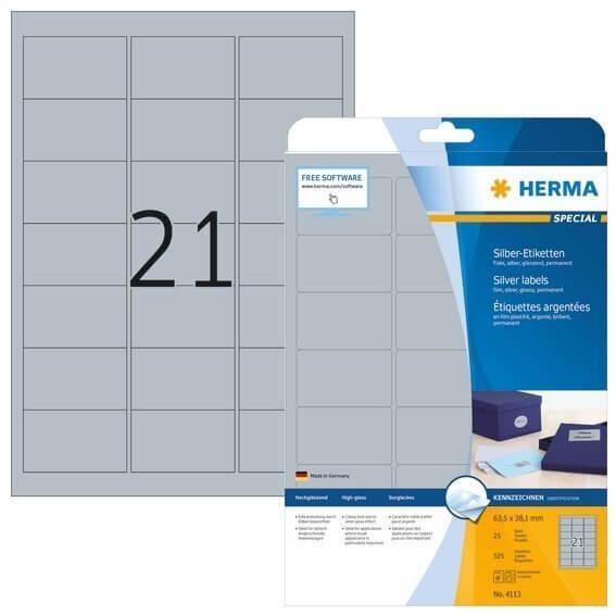 HERMA 4113 Etiketten A4 63,5x38,1 mm silber Folie glänzend 525 Stück