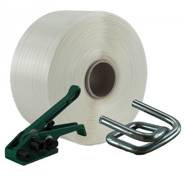 Umreifungsset 16 mm Textil Bandspanner Metallklemmen verzinkt
