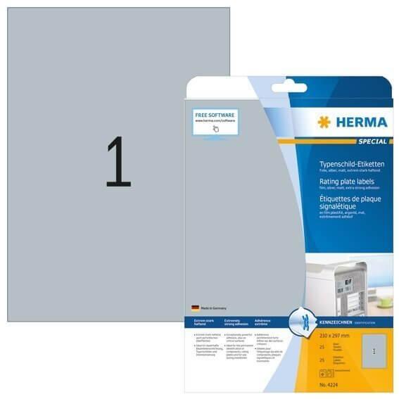 HERMA 4224 Typenschildetiketten A4 210x297 mm silber extrem stark haftend Folie matt 25 Stück