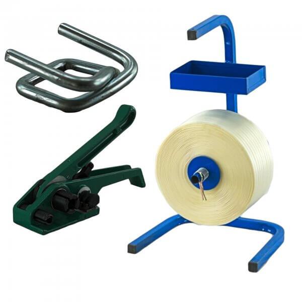 Umreifungsset 19 mm 600 m Textil Abroller Bandspanner Metallklemmen verzinkt