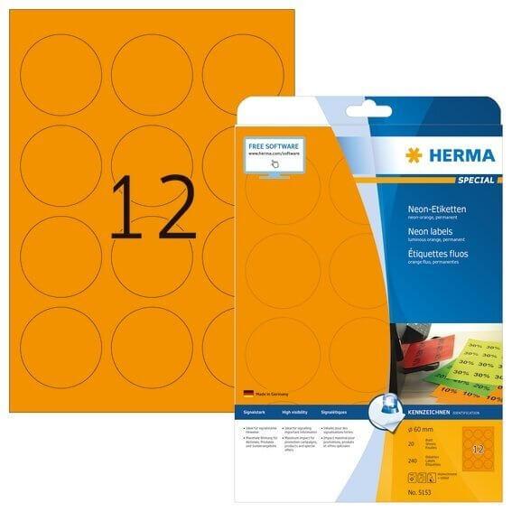 HERMA 5153 Neonetiketten A4 Ø 60 mm rund neon-orange Papier matt 240 Stück