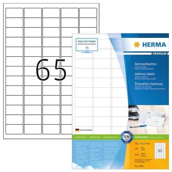 HERMA 4254 Adressetiketten Premium A4 381x212 mm runde Ecken weiß Papier matt 6500 Stück