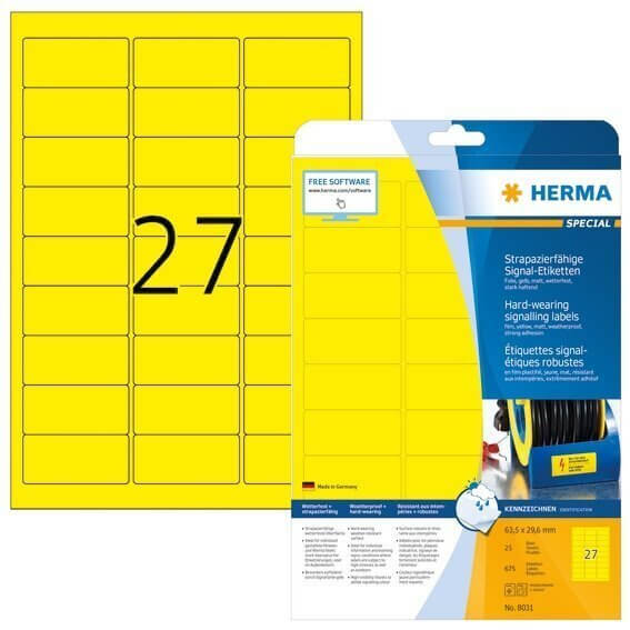 HERMA 8031 Signal-Etiketten strapazierfähig A4 635x296 mm gelb stark haftend Folie matt wetterfest 6