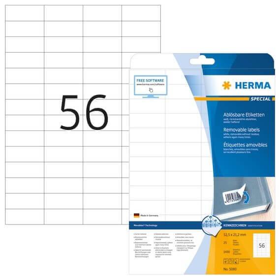 HERMA 5080 Ablösbare Etiketten A4 525x212 mm weiß Movables/ablösbar Papier matt 1400 Stück