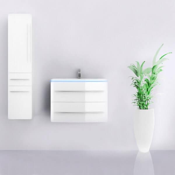 Midori Badmöbel Set Hochschrank Links Weiß Hochglanz 70 cm