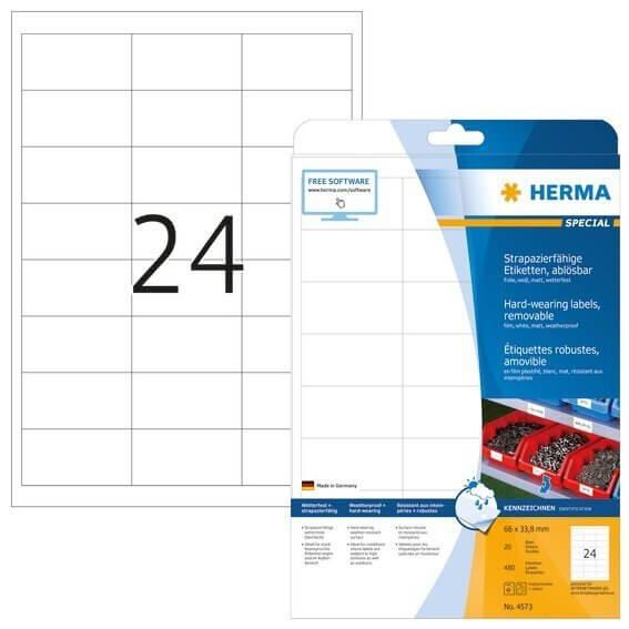 HERMA 4573 Wetterfeste Folien-Etiketten A4 660x338 mm ablösbar weiß matt strapazierfähig 480 Stück