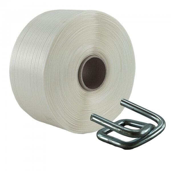 Umreifungsset 19 mm 600 m Textil Metallklemmen verzinkt