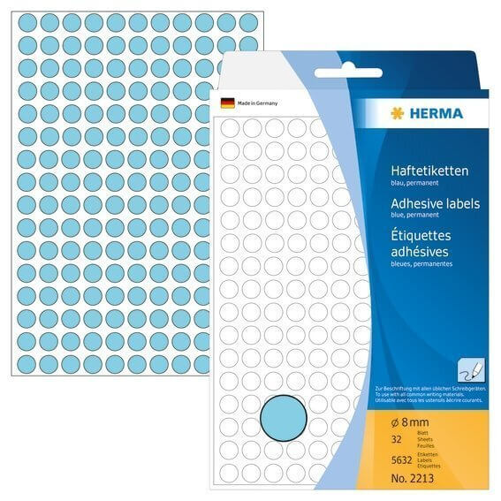 HERMA 2213 Vielzwecketiketten/Farbpunkte Ø 8 mm rund Papier matt Handbeschriftung 5632 Stück Blau