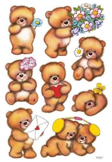 HERMA 3578 10x Sticker DECOR Bären mit Blumen