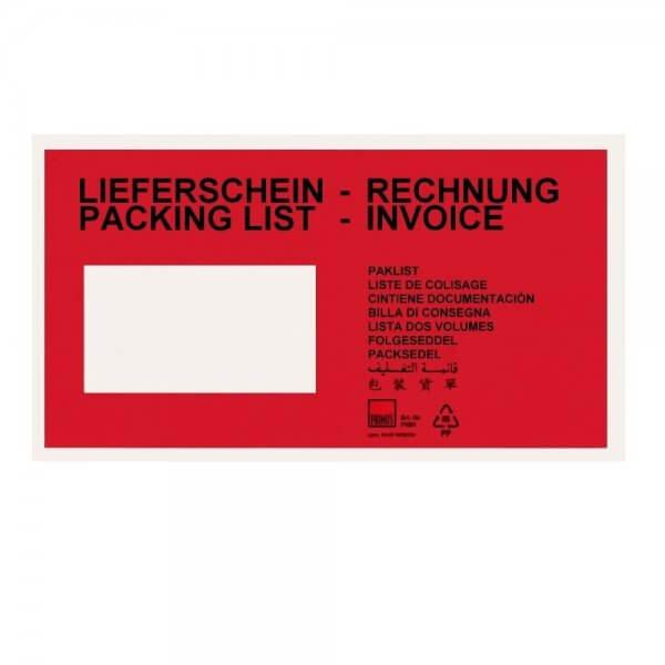Rote Lieferscheintaschen DIN Lang (bedruckt)