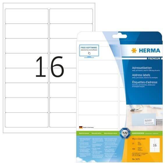 HERMA 5075 Adressetiketten Premium A4 991x338 mm weiß Papier matt 400 Stück