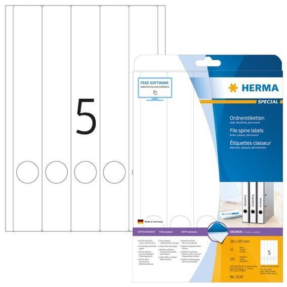 HERMA 5130 Ordneretiketten A4 38x297 mm weiß Papier matt blickdicht 125 Stück