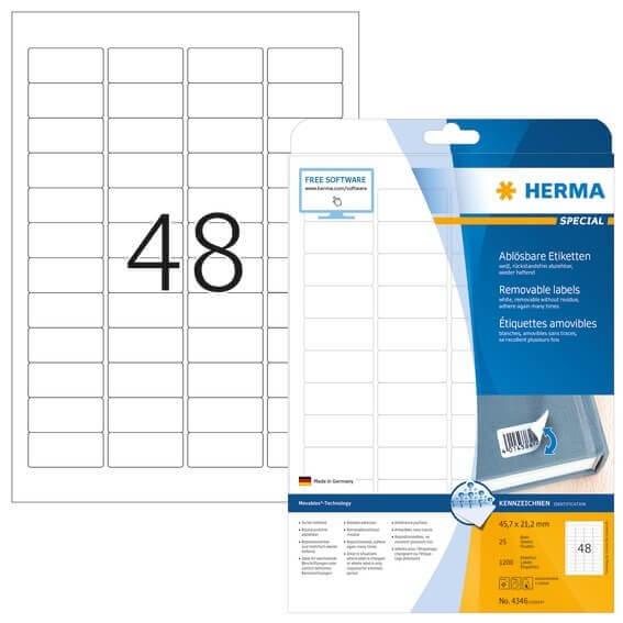 HERMA 4346 Ablösbare Etiketten A4 457x212 mm weiß Movables/ablösbar Papier matt 1200 Stück