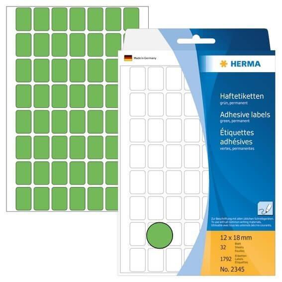 HERMA 2345 Vielzwecketiketten 12 x 18 mm Papier matt Handbeschriftung 1792 Stück Grün