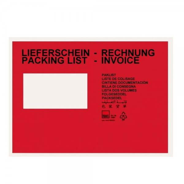 Rote Lieferscheintaschen C5 (bedruckt)