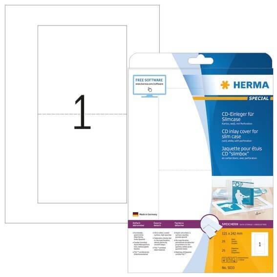 HERMA 5033 CD-Einleger für Slimcase A4 121x242 mm weiß Karton perforiert nicht klebend 25 Stück