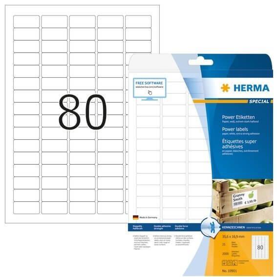 HERMA 10901 Etiketten A4 356x169 mm weiß extrem stark haftend Papier matt 2000 Stück