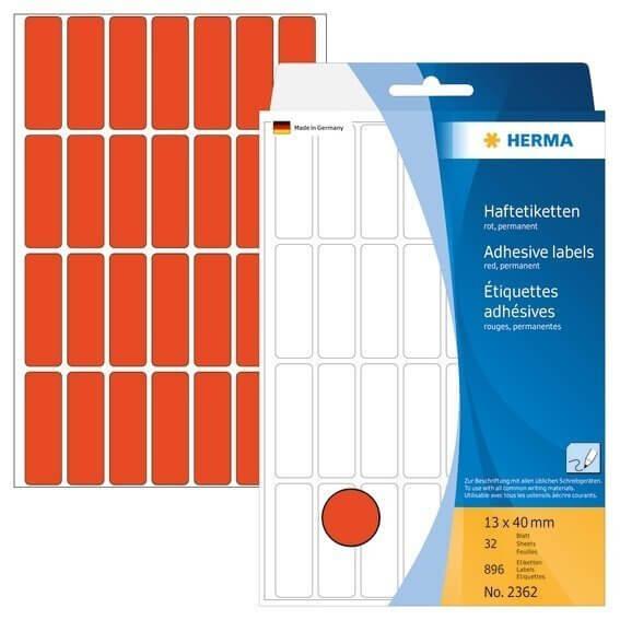 HERMA 2362 Vielzwecketiketten 13 x 40 mm Papier matt Handbeschriftung 896 Stück Rot