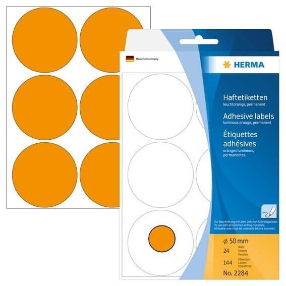 HERMA 2284 Vielzwecketiketten/Farbpunkte Ø 50 mm rund Papier matt Handbeschriftung 144 Stück Leuchto