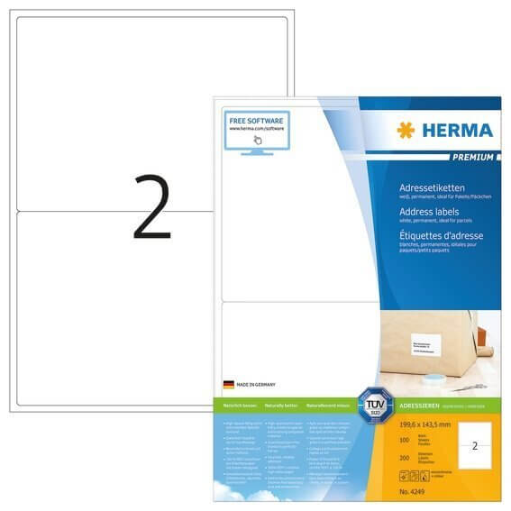 HERMA 4249 Adressetiketten Premium A4 1996x1435 mm weiß Papier matt 200 Stück