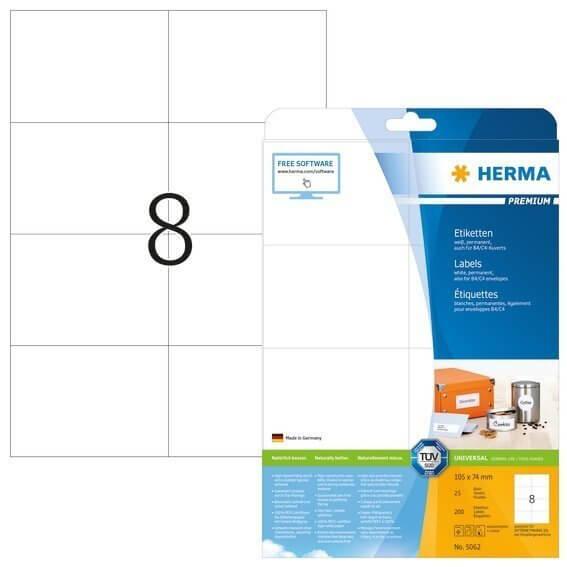 HERMA 5062 Etiketten Premium A4 105x74 mm weiß Papier matt 200 Stück