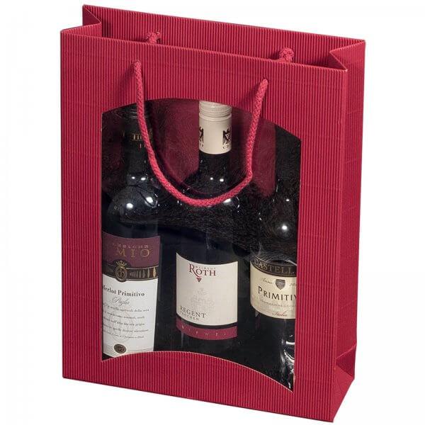 Geschenk-Flaschentasche für 3 Weinflaschen mit Sichtfenster Bordeaux