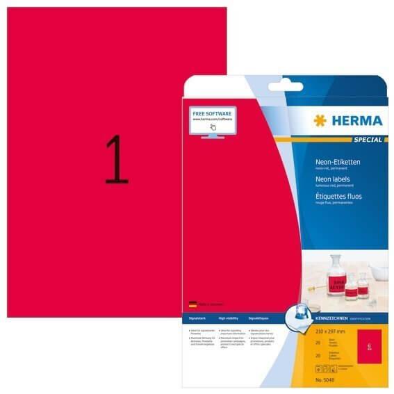 HERMA 5048 Neonetiketten A4 210x297 mm neon-rot Papier matt 20 Stück