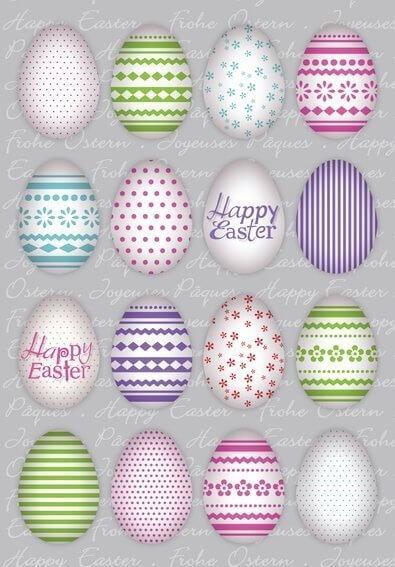 HERMA 1724 10 x Sticker DECOR Happy Easter Bunte Eier