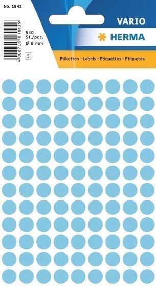 HERMA 1843 Vielzwecketiketten Ø 8 mm rund Papier matt 5400 Stück Blau