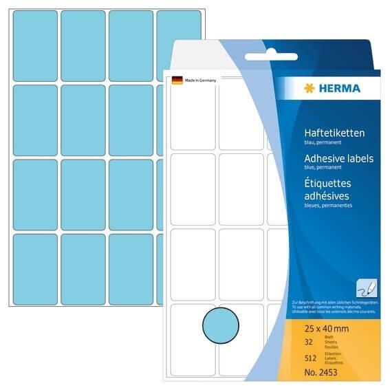 HERMA 2453 Vielzwecketiketten 25 x 40 mm Papier matt Handbeschriftung 512 Stück Blau