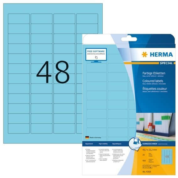 HERMA 4368 Farbige Etiketten A4 457x212 mm blau ablösbar Papier matt 960 Stück