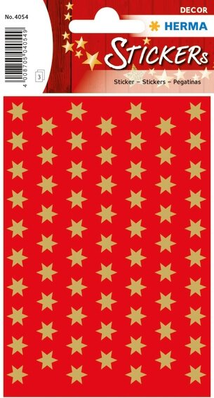 HERMA 4054 10x Sticker DECOR Sterne 6-zackig gold Ø 8 mm