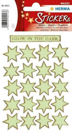 HERMA 4013 10x Sticker MAGIC Sterne Leuchtfolie Glow in the dark
