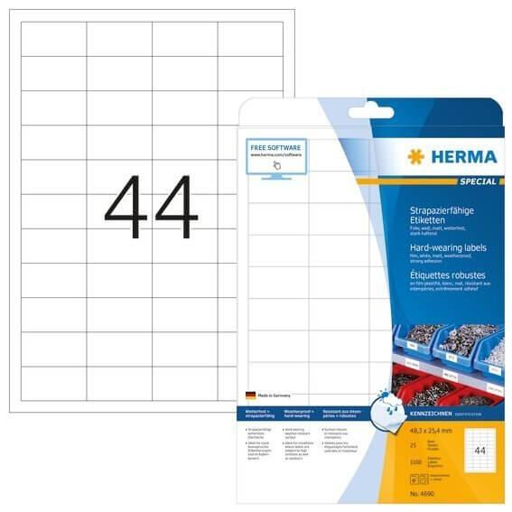 HERMA 4690 Etiketten strapazierfähig A4 483x254 mm weiß stark haftend Folie matt wetterfest 1100 Stü