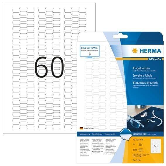 HERMA 5116 Ringetiketten A4 49x10 mm weiß Papier matt blickdicht 1500 Stück