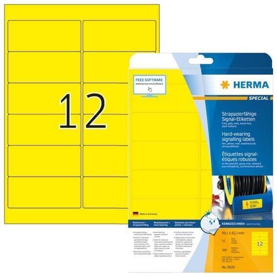 HERMA 8029 Signal-Etiketten strapazierfähig A4 991x423 mm gelb stark haftend Folie matt wetterfest 3