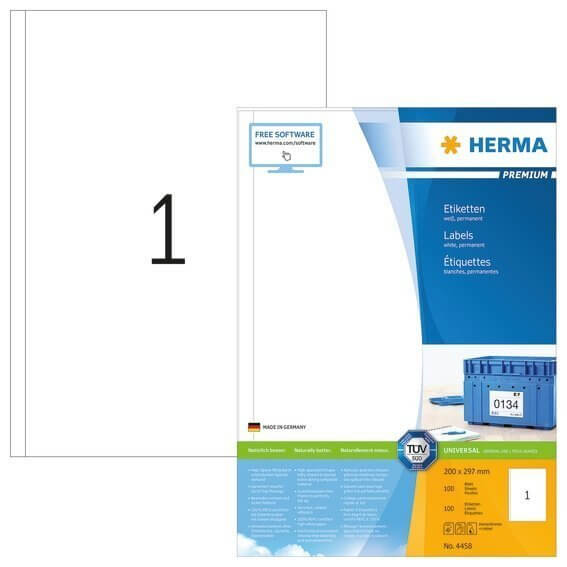HERMA 4458 Etiketten Premium A4 200x297 mm weiß Papier matt 100 Stück