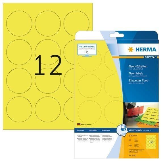 HERMA 5152 Neonetiketten A4 Ø 60 mm rund neon-gelb Papier matt 240 Stück