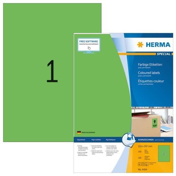 HERMA 4404 Farbige Etiketten A4 210x297 mm grün Papier matt 100 Stück