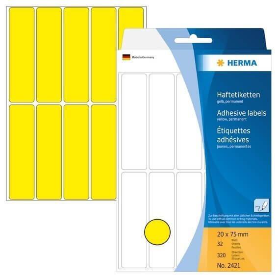 HERMA 2421 Vielzwecketiketten 20 x 75 mm Papier matt Handbeschriftung 320 Stück Gelb