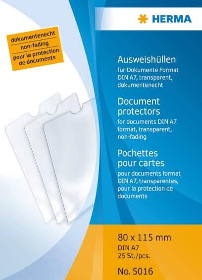 HERMA 5016 25x Ausweishüllen 80x115 mm für Dokumente Format DIN A7