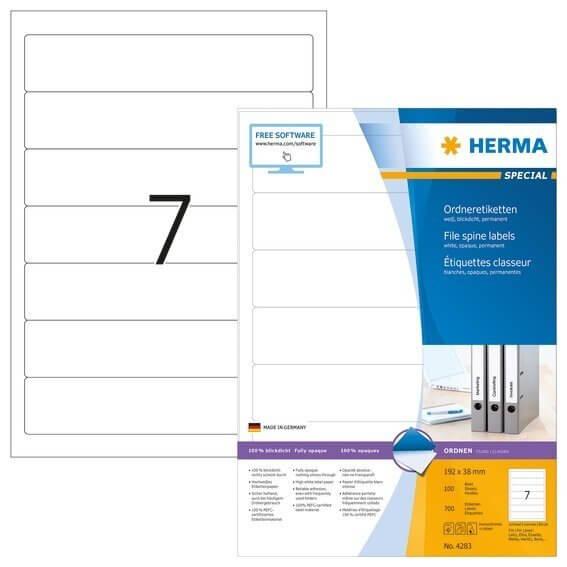 HERMA 4283 Ordneretiketten A4 192x38 mm weiß Papier matt blickdicht 700 Stück