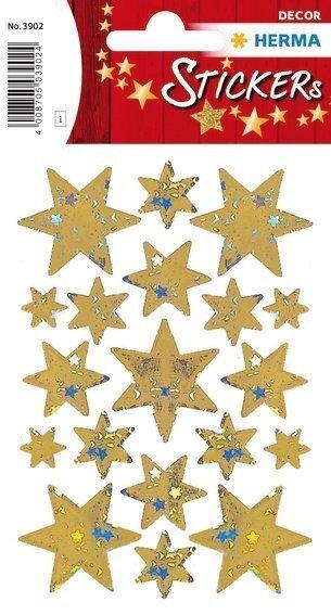 HERMA 3902 10x Sticker DECOR Sterne 6-zackig gold Holographie