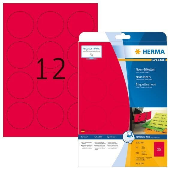 HERMA 5156 Neonetiketten A4 Ø 60 mm rund neon-rot Papier matt 240 Stück
