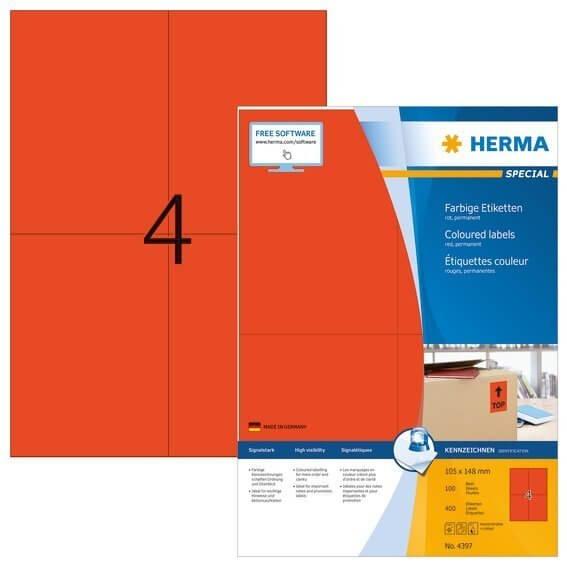 HERMA 4397 Farbige Etiketten A4 105x148 mm rot Papier matt 400 Stück